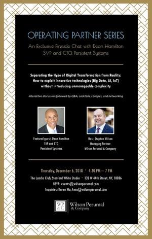 Invitation - WP&C Operating Partner Series with Dean Hamilton, December 6th at The Lambs Club, NY