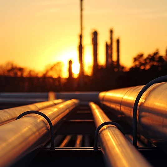 Sunset over Oil Refinery
